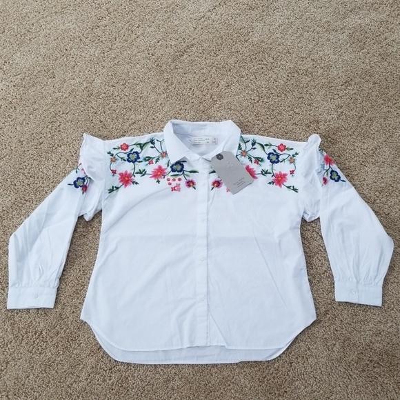 34cbbcfd NWT! Zara Girls White Embroidered Size 8 Shirt NWT